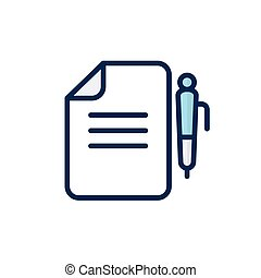 Icon Sheet of paper, document and pen. vector illustration....