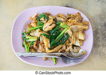Fired thin noodles with soy sauce ,Thai food - Fired thin...