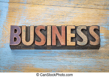 business word in wood type - business word abstract in...