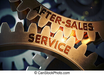 After-Sales Service on Golden Cogwheels. 3D Illustration. -...