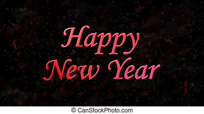Happy New Year text on black background