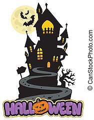 Halloween sign with house on hill - vector illustration.
