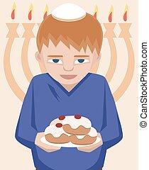 jewish kid with sufganiyot, hanukkah greetings - vector...