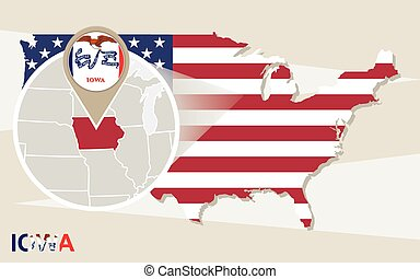 USA map with magnified Iowa State. Iowa flag and map.