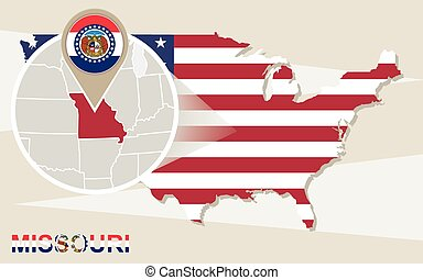 USA map with magnified Missouri State. Missouri flag and...