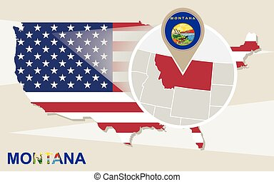 USA map with magnified Montana State. Montana flag and map.