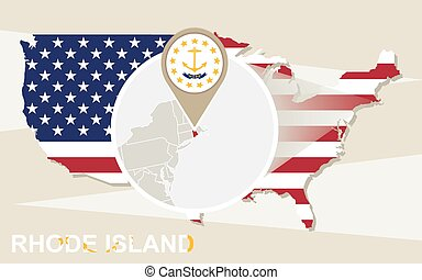 Clip Art Vector Of Rhode Island State Map And Flag Outline Map - Rhode island usa map