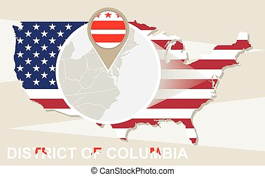 USA map with magnified District of Columbia. District of...