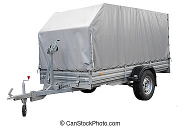 Grey Car trailer. - Car trailer, isolated on a white...