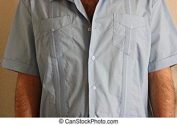 Man Wearing Guayabera Shirt - Close up of a Man Wearing...
