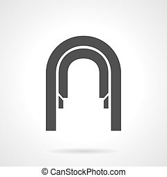Arched corridor glyph style vector icon - Abstract...