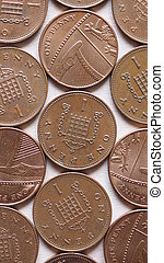 GBP Pound coins - vertical - British Pound coins currency of...