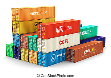 Group of 40 ft freight cargo containers