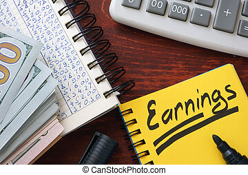 Earnings written in a note