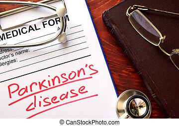 Parkinson disease written in a medical form.