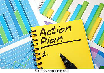 Action plan list in a note and financial charts.