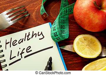 Healthy Life written in a note.