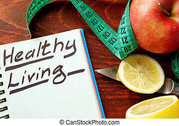Healthy living written in a note