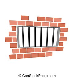 Jail cartoon. Prison grill and wall. Window in prison with...