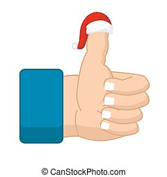 Like Santa Claus. Thumb up. Symbol all right. success...