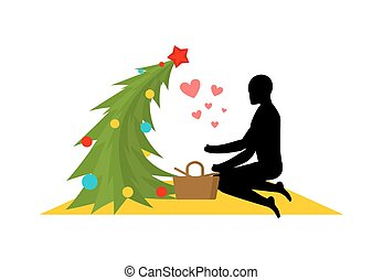 Christmas Lover. Christmas tree at picnic. Rendezvous in...