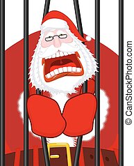 Santa Claus prisoner. Christmas in prison. Window in prison...