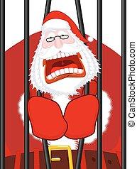 Santa Claus prisoner. Christmas in prison. Window in prison...