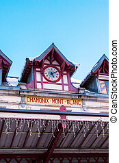 Vibrant color Facade of Chamonix train station and blue sky...