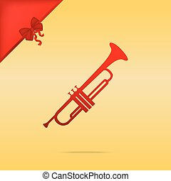 Musical instrument Trumpet sign. Cristmas design red icon on...
