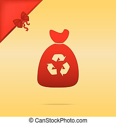 Trash bag icon. Cristmas design red icon on gold background.