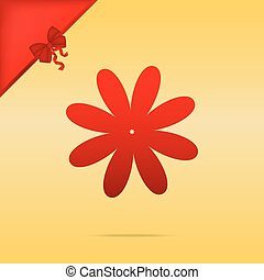 Flower sign illustration. Cristmas design red icon on gold background.