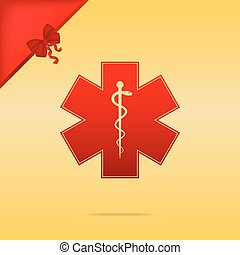 Medical symbol of the Emergency or Star of Life. Cristmas...