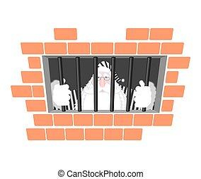 Santa Claus prison in striped robe. Window in prison with...