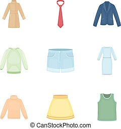 Clothes set icons in cartoon style. Big collection of...