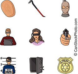 Crime set icons in cartoon style. Big collection of crime...