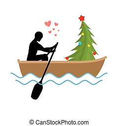 Christmas Lover. Man and Christmas tree ride in boat. Lovers...
