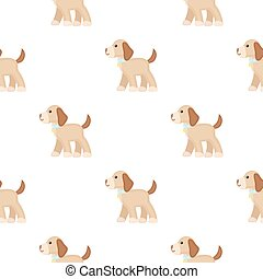 Walking the dog vector icon in cartoon style for web