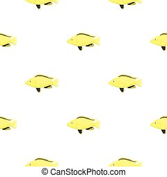 Cichlid hummingbird fish icon cartoon. Singe aquarium fish...