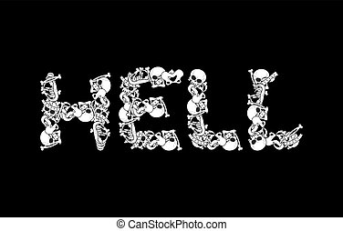 Hell typography. Letters from bones. Anatomy lettering. Death sign. Skull and spine. jaw and pelvis