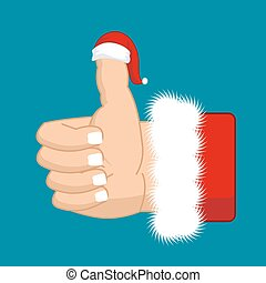 Like Santa. Thumb up. Symbol all right. success gesture. Red...