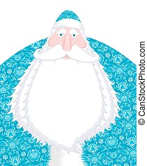 Russian Santa Claus Father Frost. Ded moroz- Santa of Russia. Christmas old man in national blue suit. New Year fairy tale character. Xmas template