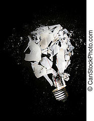 Smashed light bulb - Smashed or exploded incandescent light...