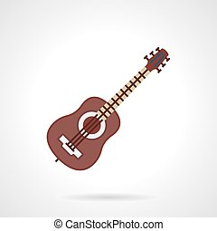 Flat color vector icon for guitar lessons - Brown classic...