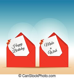 happy birthday with wishes in red letter envelope design...