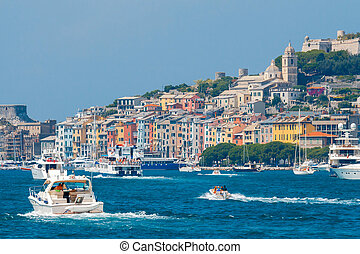Portovenere. Old seaside town. - Medieval colorful houses in...