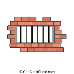 Prison grill and wall. Window in prison with bars. Jail isolated