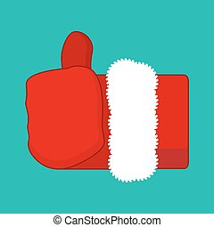 Christmas Like Santa Claus. Thumb up. Symbol all right....