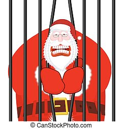 Santa Claus gangster. Christmas in prison. Window in prison...