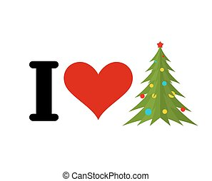I love Christmas. Heart and Christmas tree. Festive fir-tree with balls. Spruce decorations and star. New Year symbol
