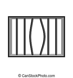 Prison grill isolated. Window in prison with bars. Jail...